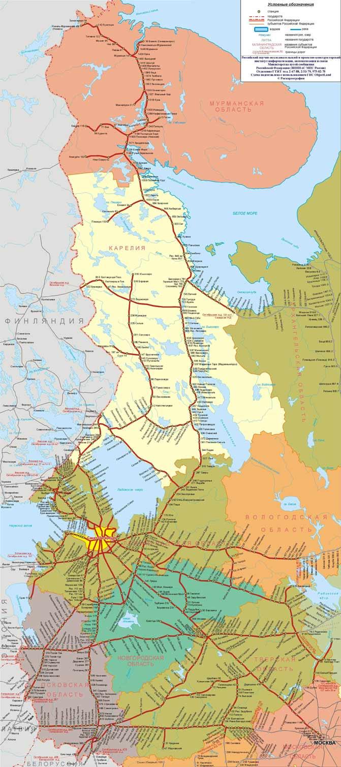 Карта-схема Октябрьской железной дороги